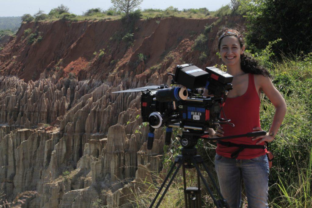 Amaia Remírez en una localización de rodaje